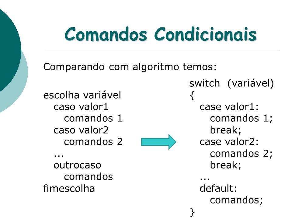 Comandos Condicionais Comparando com algoritmo temos: switch (variável) escolha variável{ caso valor1 case valor1: comandos 1 comandos 1; caso valor2 break; comandos 2 case valor2:...