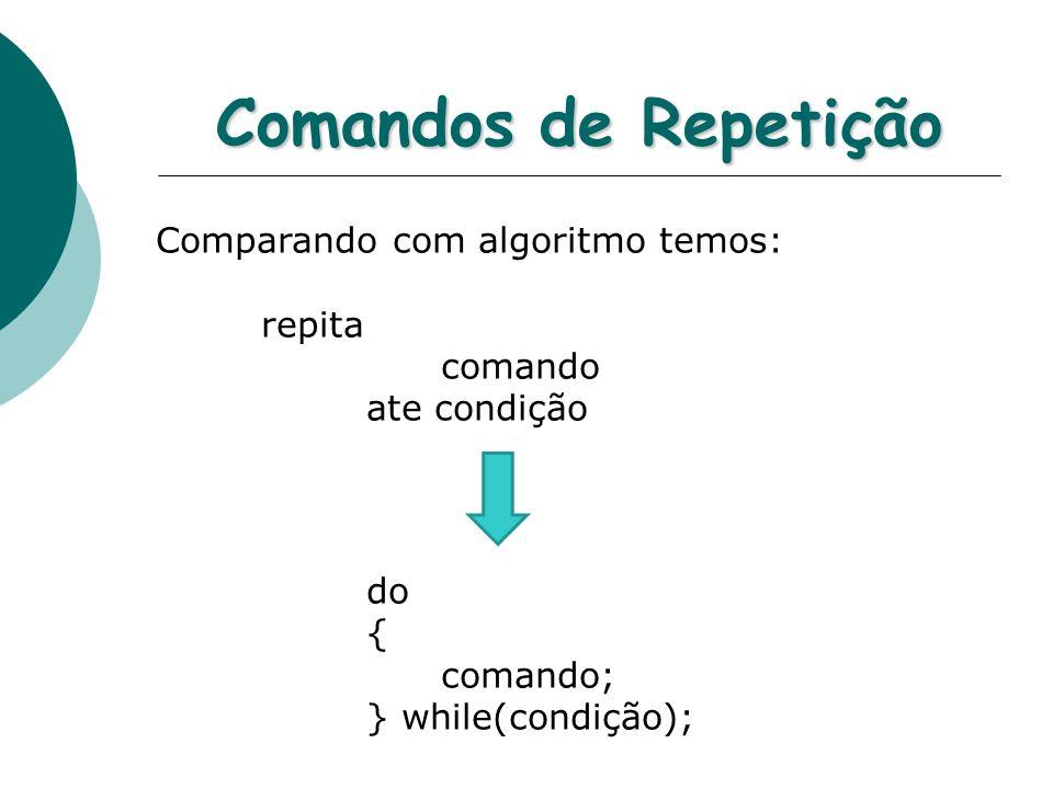 Comandos de Repetição Comparando com algoritmo temos: repita comando ate condição do { comando; } while(condição);
