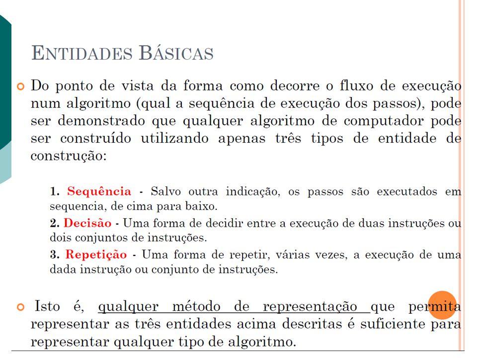 Comandos Condicionais A variável é testada sucessivamente comparando com os valores de cada caso.