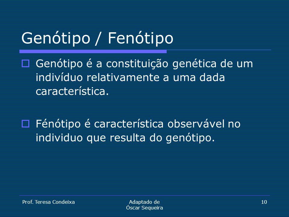 Prof. Teresa CondeixaAdaptado de Óscar Sequeira 10 Genótipo / Fenótipo  Genótipo é a constituição genética de um indivíduo relativamente a uma dada c