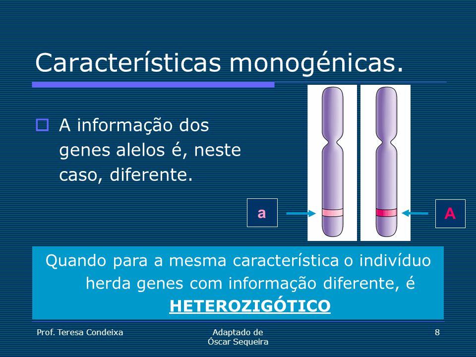 Prof. Teresa CondeixaAdaptado de Óscar Sequeira 8 A a Características monogénicas.  A informação dos genes alelos é, neste caso, diferente. Quando pa