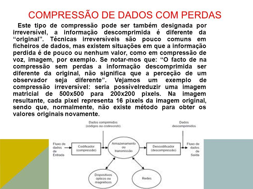 COMPRESSÃO DE DADOS COM PERDAS Este tipo de compressão pode ser também designada por irreversível, a informação descomprimida é diferente da original .