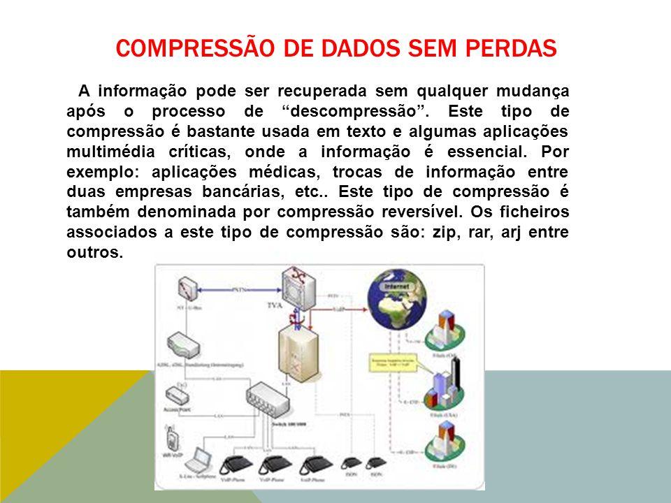 COMPRESSÃO DE DADOS SEM PERDAS A informação pode ser recuperada sem qualquer mudança após o processo de descompressão .