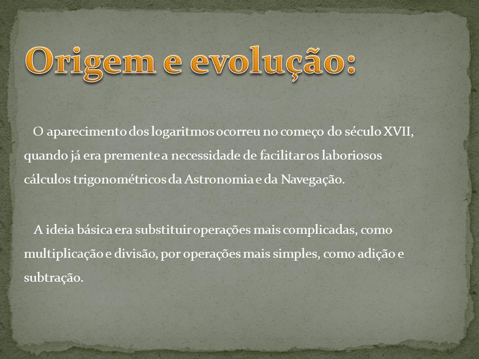 O aparecimento dos logaritmos ocorreu no começo do século XVII, quando já era premente a necessidade de facilitar os laboriosos cálculos trigonométricos da Astronomia e da Navegação.