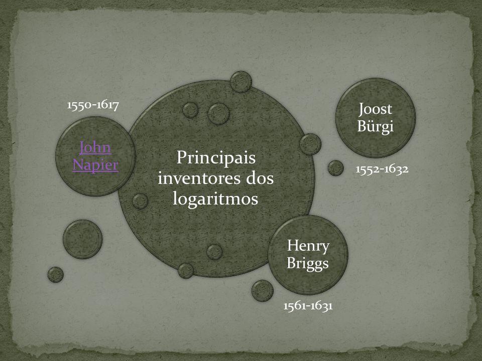 Principais inventores dos logaritmos John Napier Joost Bürgi 1552-1632 1550-1617 Henry Briggs 1561-1631