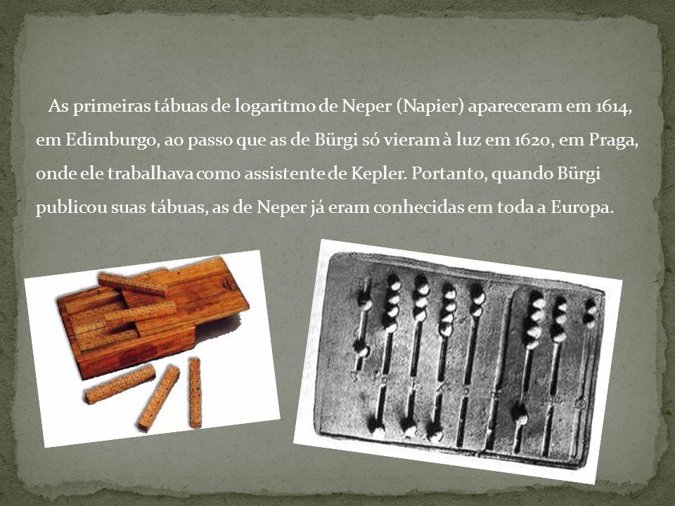 As primeiras tábuas de logaritmo de Neper (Napier) apareceram em 1614, em Edimburgo, ao passo que as de Bürgi só vieram à luz em 1620, em Praga, onde ele trabalhava como assistente de Kepler.