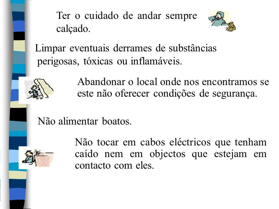 Não acender fósforos ou outra chama até desligar a energia eléctrica e o gás, fazendo um balanço de fugas e outros danos.