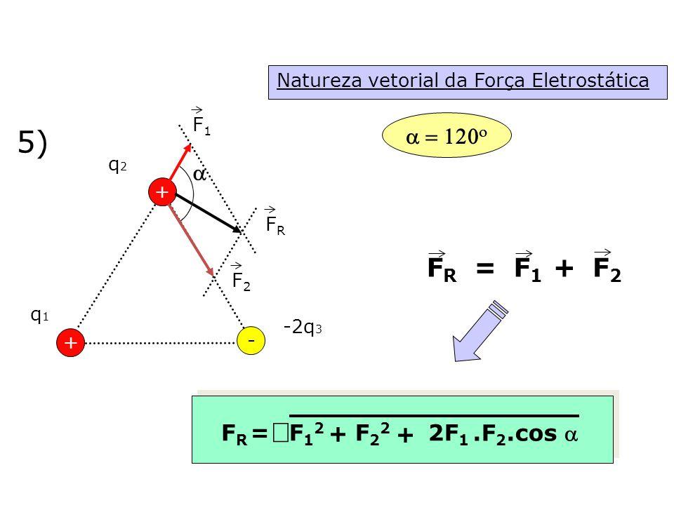 Natureza vetorial da Força Eletrostática 5) + q1q1 q2q2 - + -2q 3 F1F1 F2F2 FRFR FRFR = F1F1 F2F2 + + FRFR =F12F12 F22F22 + 2F 1.F 2.cos     