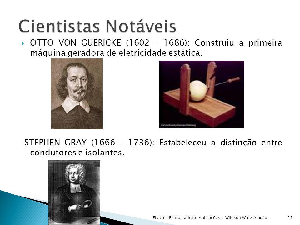  OTTO VON GUERICKE (1602 – 1686): Construiu a primeira máquina geradora de eletricidade estática.