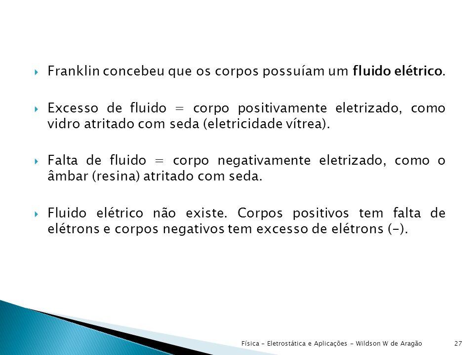  Franklin concebeu que os corpos possuíam um fluido elétrico.
