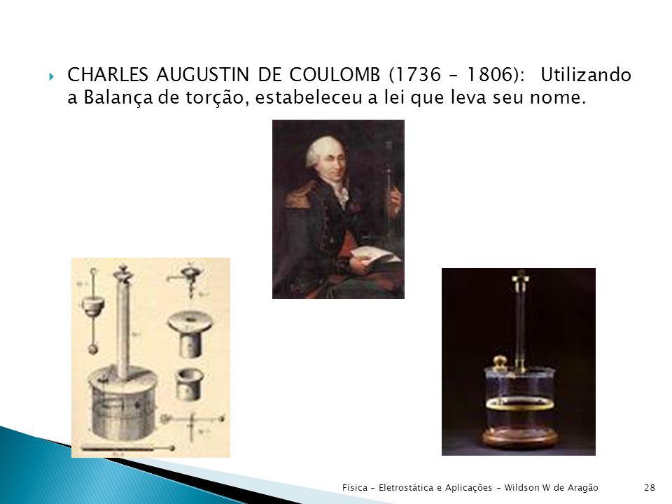  CHARLES AUGUSTIN DE COULOMB (1736 – 1806): Utilizando a Balança de torção, estabeleceu a lei que leva seu nome.