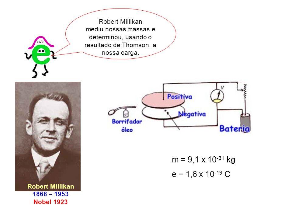 Robert Millikan mediu nossas massas e determinou, usando o resultado de Thomson, a nossa carga.
