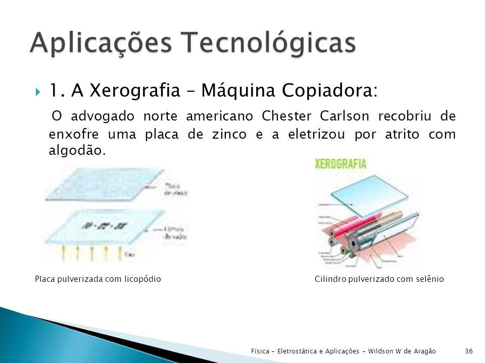  1. A Xerografia – Máquina Copiadora: O advogado norte americano Chester Carlson recobriu de enxofre uma placa de zinco e a eletrizou por atrito com