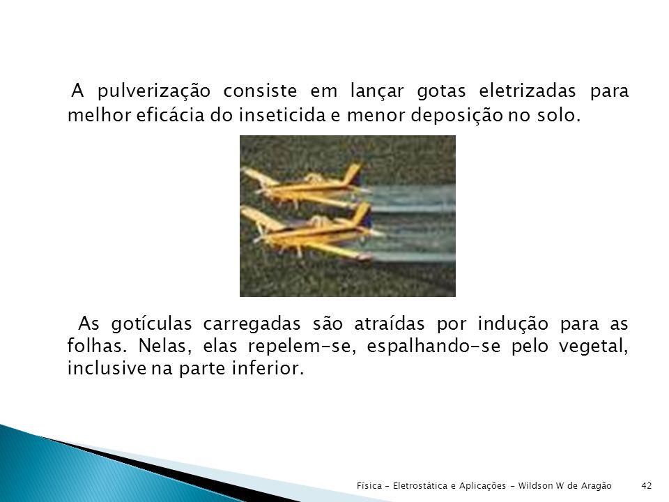 A pulverização consiste em lançar gotas eletrizadas para melhor eficácia do inseticida e menor deposição no solo.