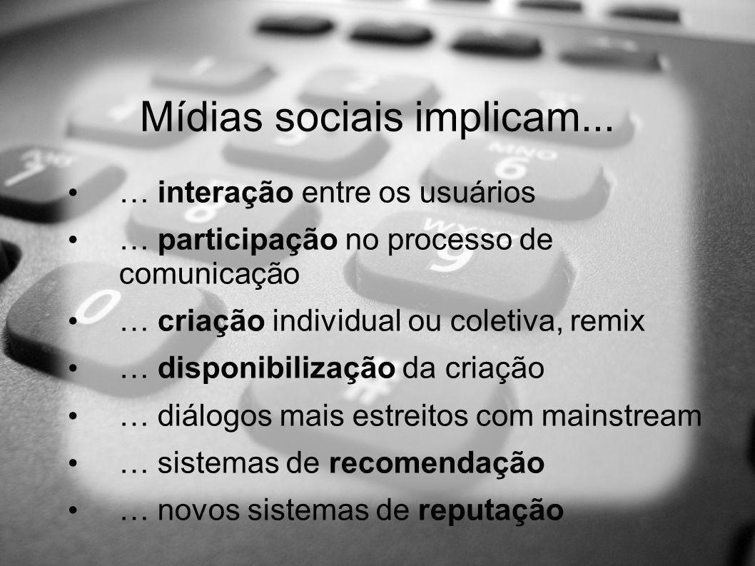 Mídias sociais implicam... … interação entre os usuários … participação no processo de comunicação … criação individual ou coletiva, remix … disponibi
