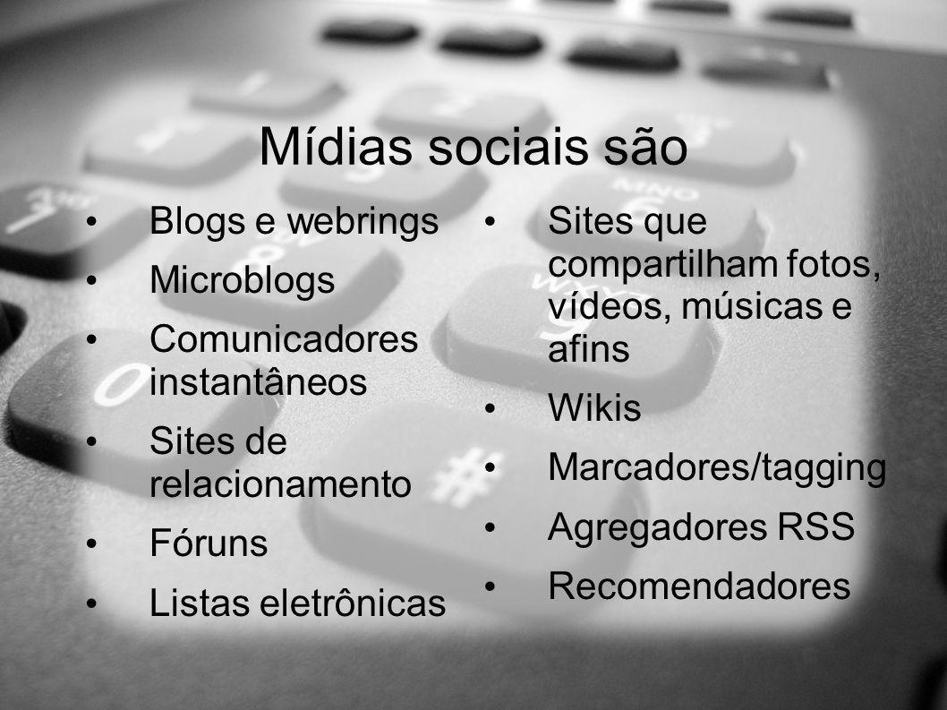 Mídias sociais são Blogs e webrings Microblogs Comunicadores instantâneos Sites de relacionamento Fóruns Listas eletrônicas Sites que compartilham fotos, vídeos, músicas e afins Wikis Marcadores/tagging Agregadores RSS Recomendadores