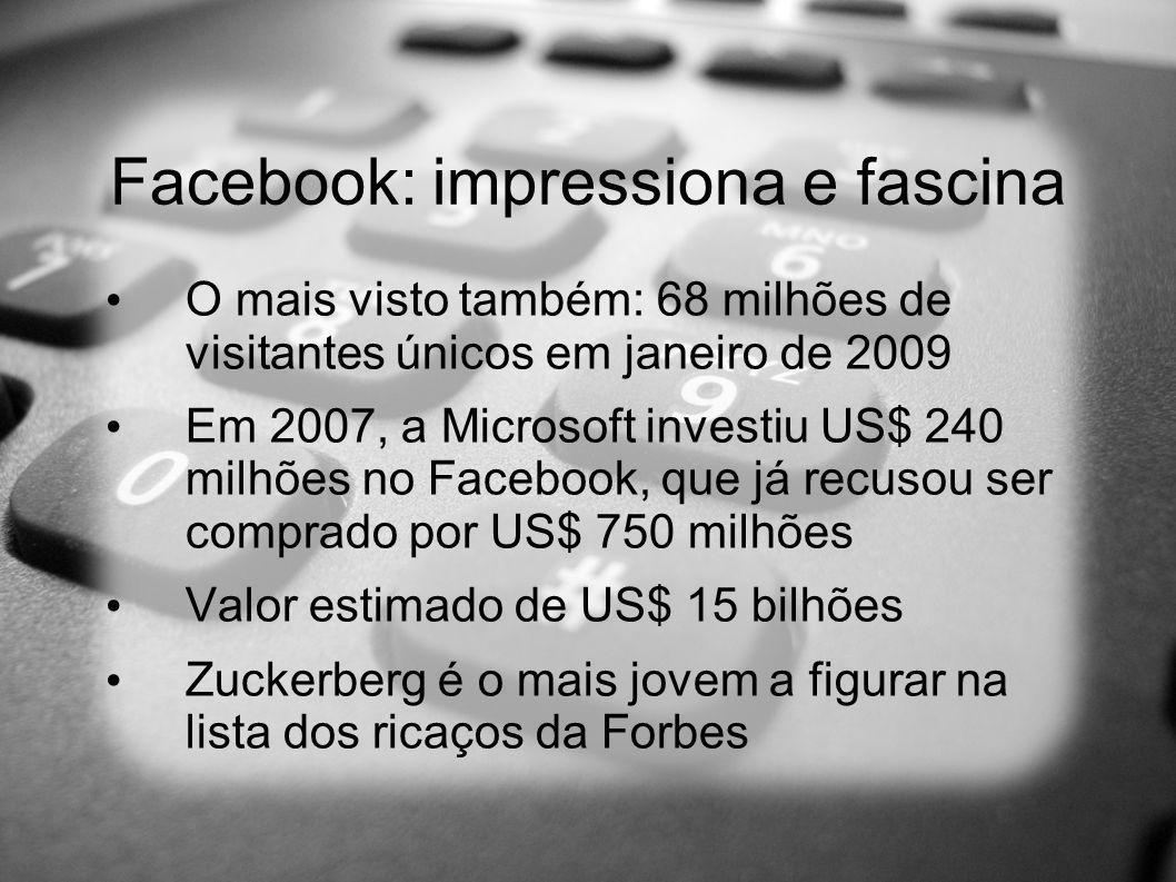 Facebook: impressiona e fascina O mais visto também: 68 milhões de visitantes únicos em janeiro de 2009 Em 2007, a Microsoft investiu US$ 240 milhões no Facebook, que já recusou ser comprado por US$ 750 milhões Valor estimado de US$ 15 bilhões Zuckerberg é o mais jovem a figurar na lista dos ricaços da Forbes