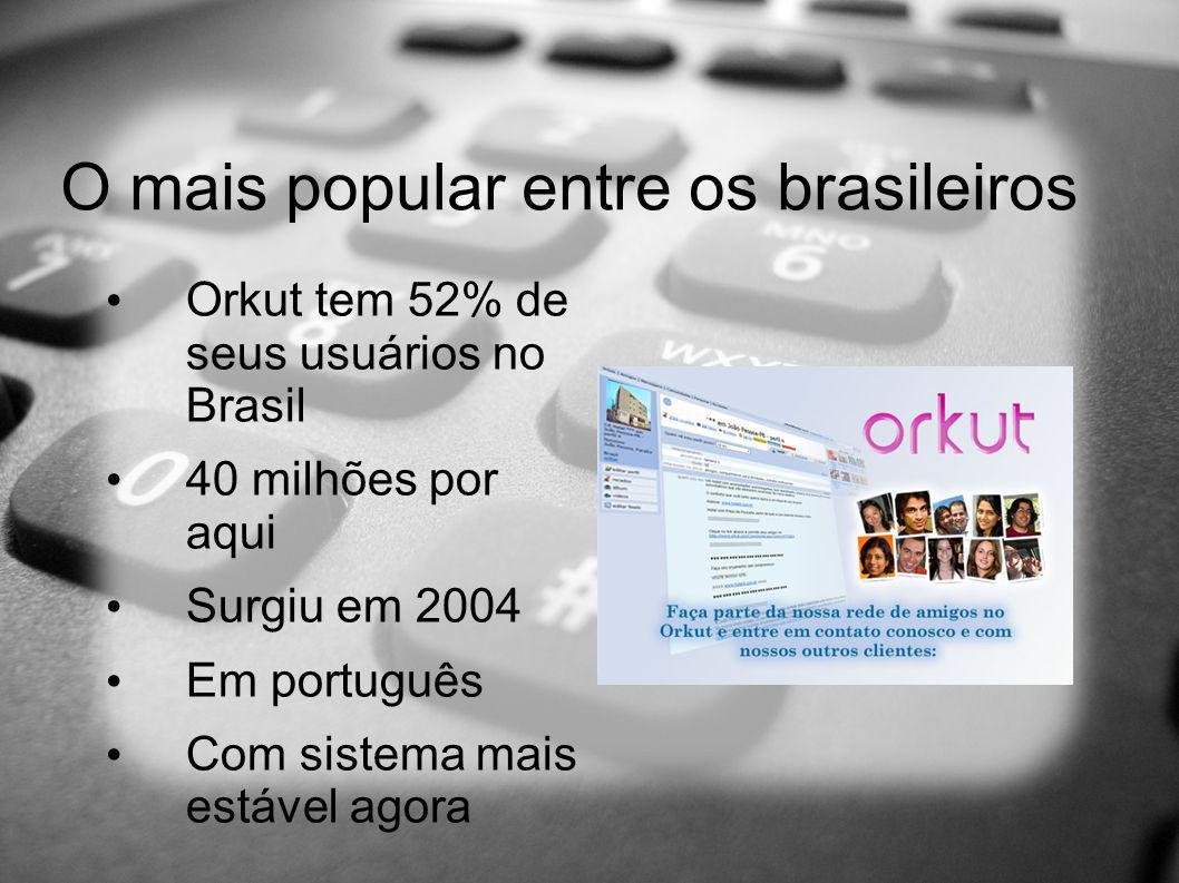 O mais popular entre os brasileiros Orkut tem 52% de seus usuários no Brasil 40 milhões por aqui Surgiu em 2004 Em português Com sistema mais estável