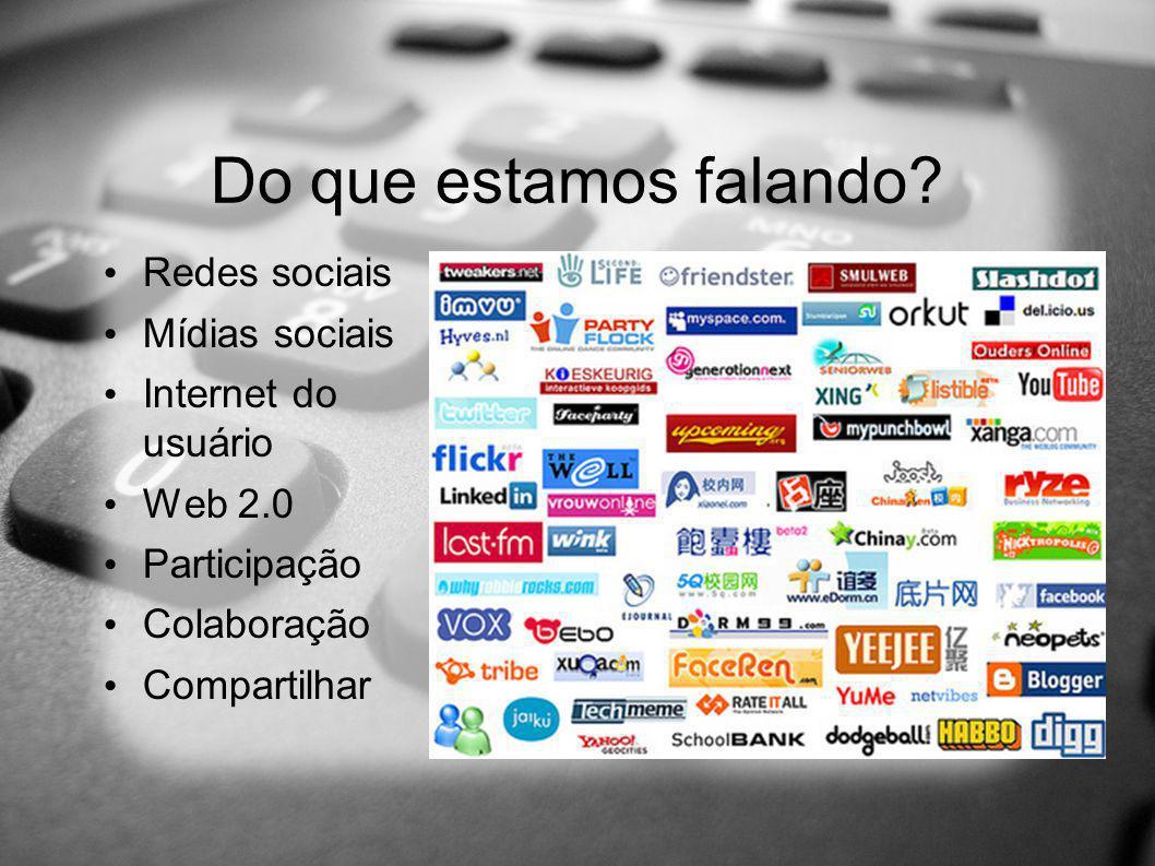 Do que estamos falando? Redes sociais Mídias sociais Internet do usuário Web 2.0 Participação Colaboração Compartilhar