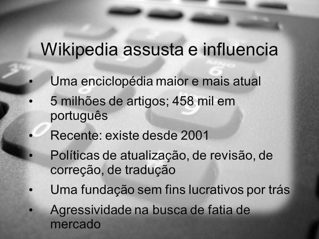 Wikipedia assusta e influencia Uma enciclopédia maior e mais atual 5 milhões de artigos; 458 mil em português Recente: existe desde 2001 Políticas de atualização, de revisão, de correção, de tradução Uma fundação sem fins lucrativos por trás Agressividade na busca de fatia de mercado