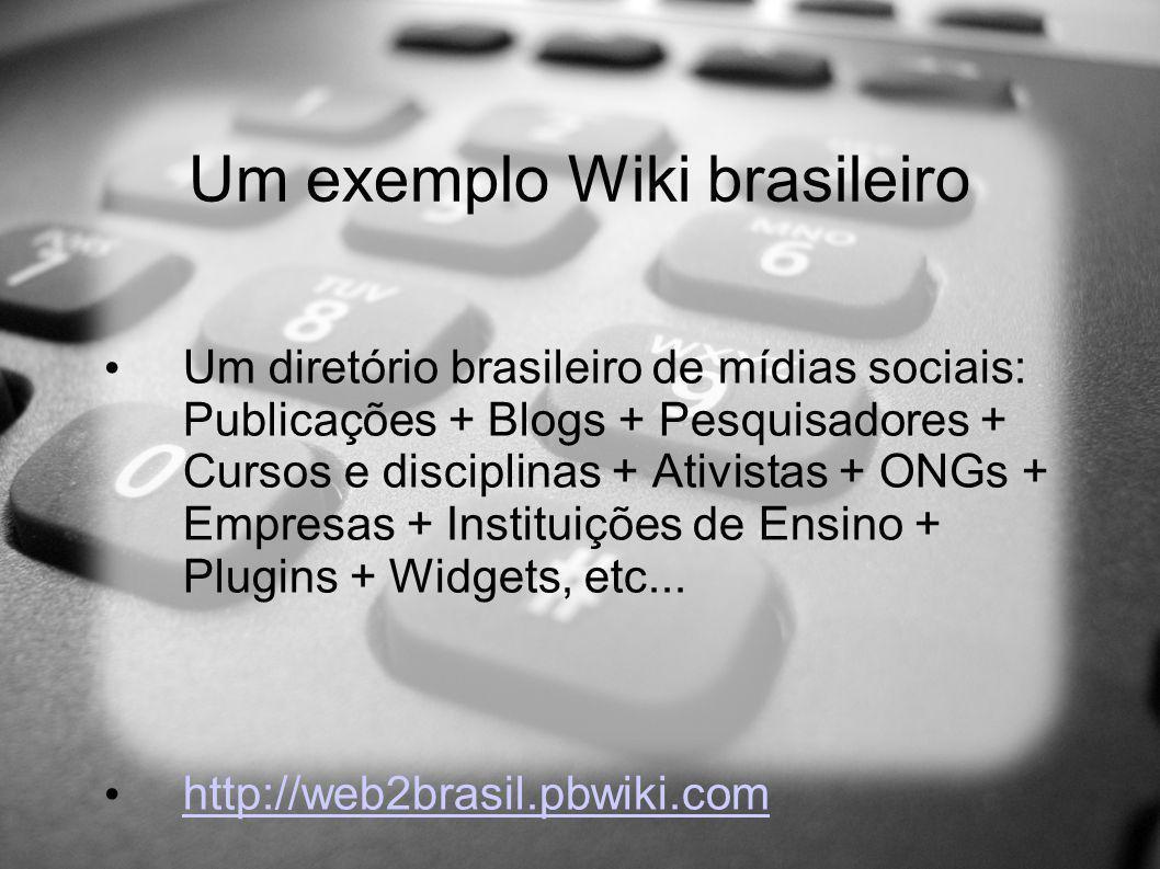 Um exemplo Wiki brasileiro Um diretório brasileiro de mídias sociais: Publicações + Blogs + Pesquisadores + Cursos e disciplinas + Ativistas + ONGs + Empresas + Instituições de Ensino + Plugins + Widgets, etc...