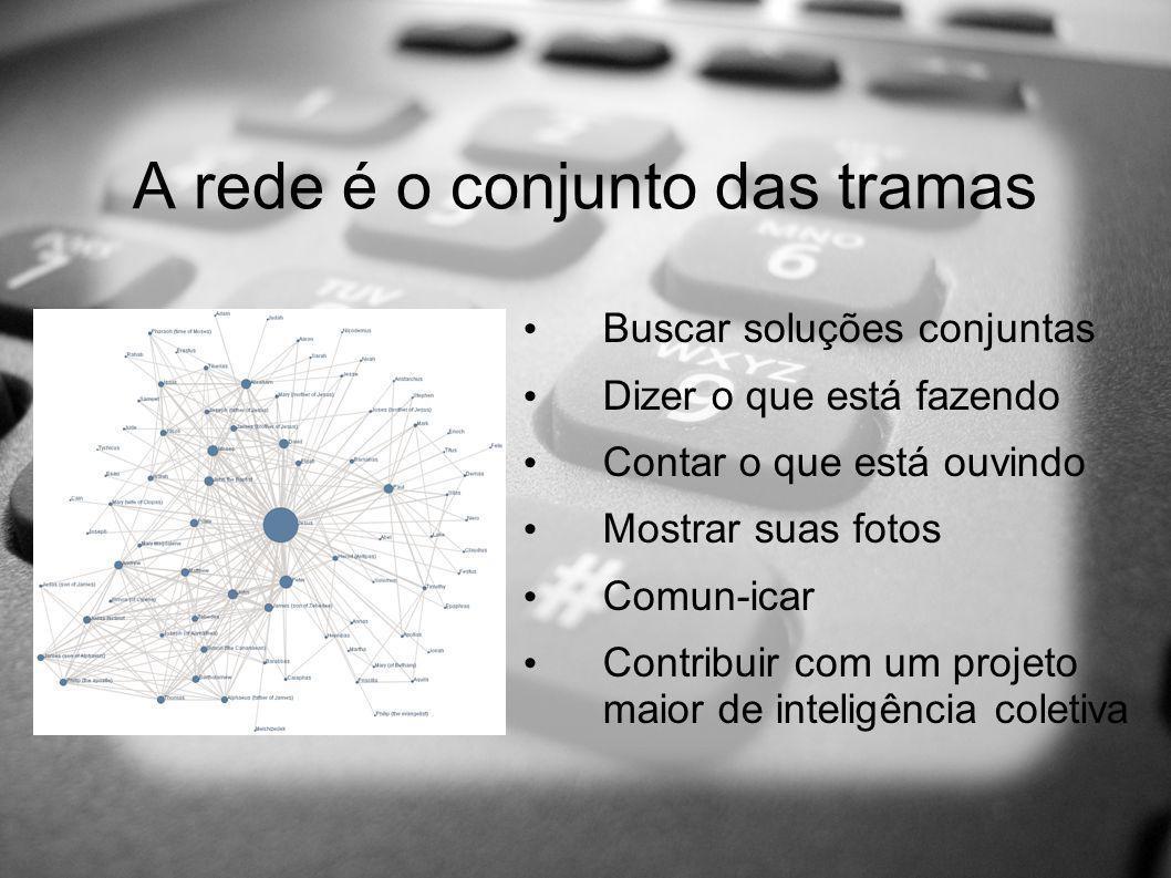 A rede é o conjunto das tramas Buscar soluções conjuntas Dizer o que está fazendo Contar o que está ouvindo Mostrar suas fotos Comun-icar Contribuir com um projeto maior de inteligência coletiva