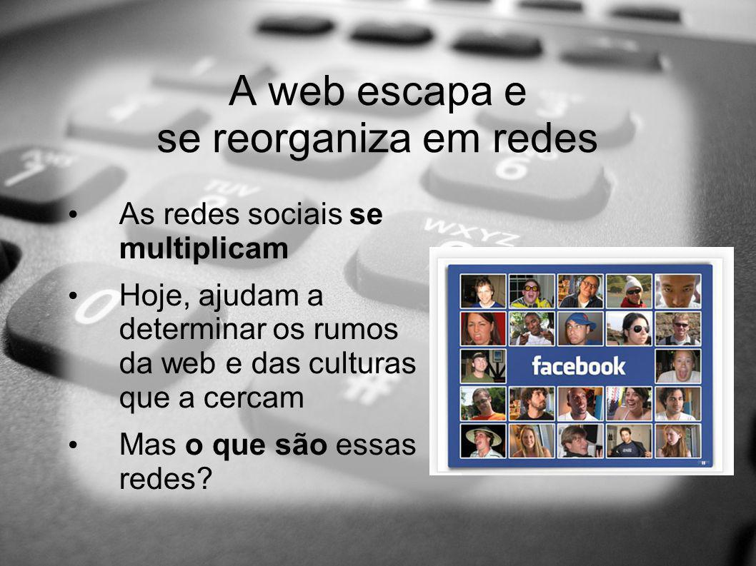 A web escapa e se reorganiza em redes As redes sociais se multiplicam Hoje, ajudam a determinar os rumos da web e das culturas que a cercam Mas o que são essas redes