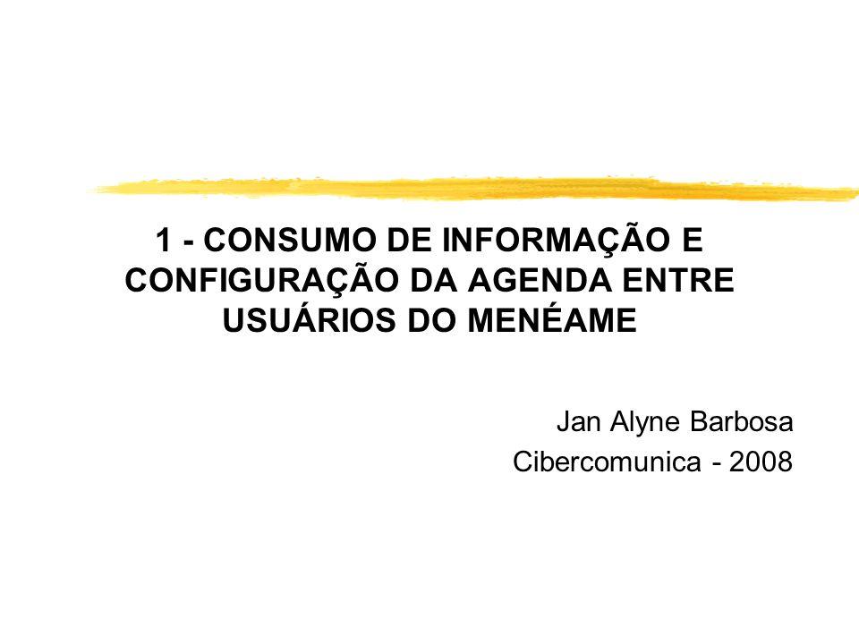 1 - CONSUMO DE INFORMAÇÃO E CONFIGURAÇÃO DA AGENDA ENTRE USUÁRIOS DO MENÉAME Jan Alyne Barbosa Cibercomunica - 2008
