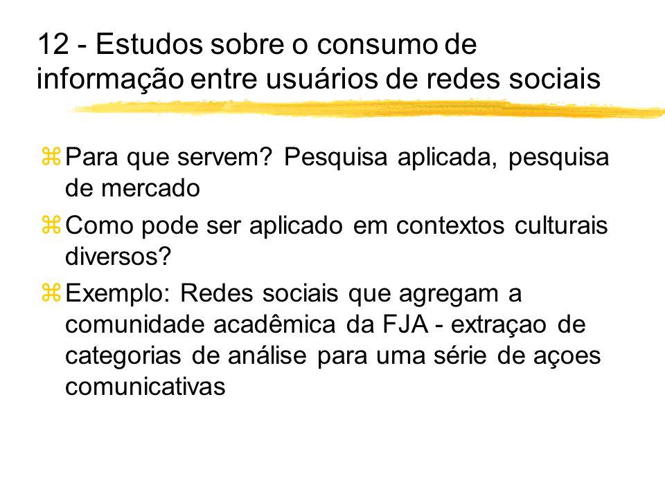 12 - Estudos sobre o consumo de informação entre usuários de redes sociais zPara que servem? Pesquisa aplicada, pesquisa de mercado zComo pode ser apl
