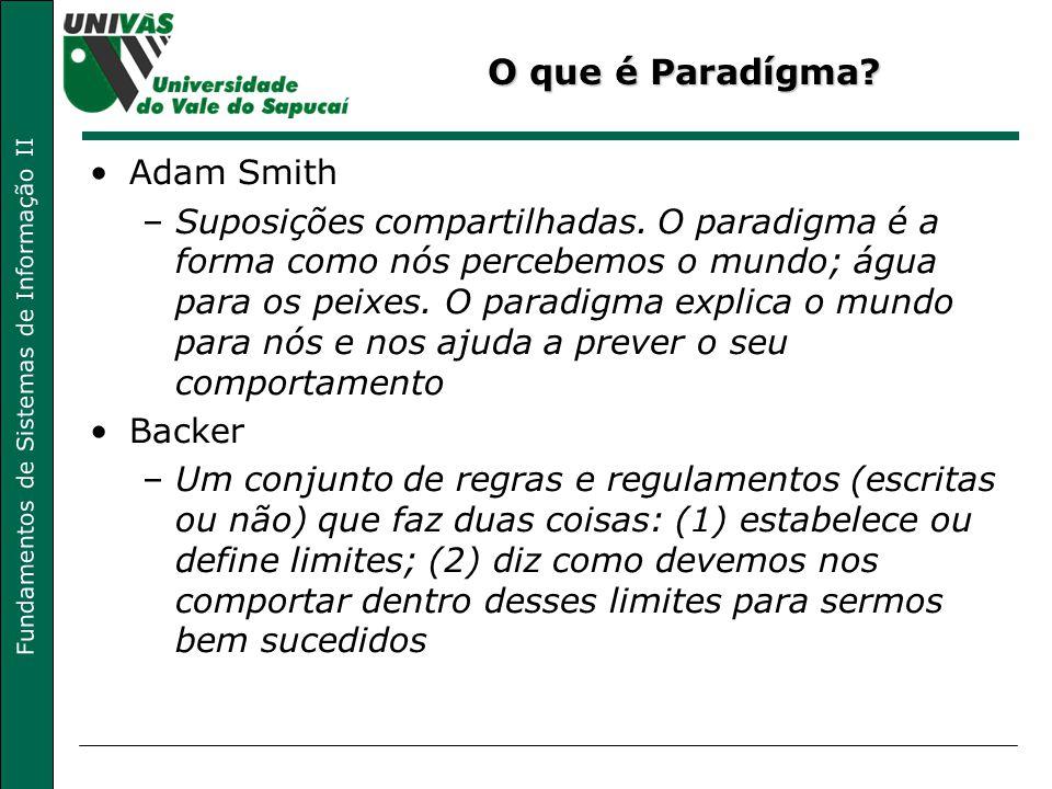 Fundamentos de Sistemas de Informação II O que é Paradígma? Adam Smith –Suposições compartilhadas. O paradigma é a forma como nós percebemos o mundo;