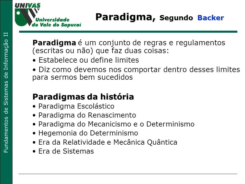 Fundamentos de Sistemas de Informação II Paradigma, Segundo Backer Paradigma Paradigma é um conjunto de regras e regulamentos (escritas ou não) que fa