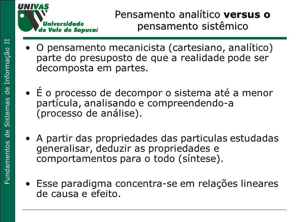 Fundamentos de Sistemas de Informação II Pensamento analítico versus o pensamento sistêmico O pensamento mecanicista (cartesiano, analítico) parte do