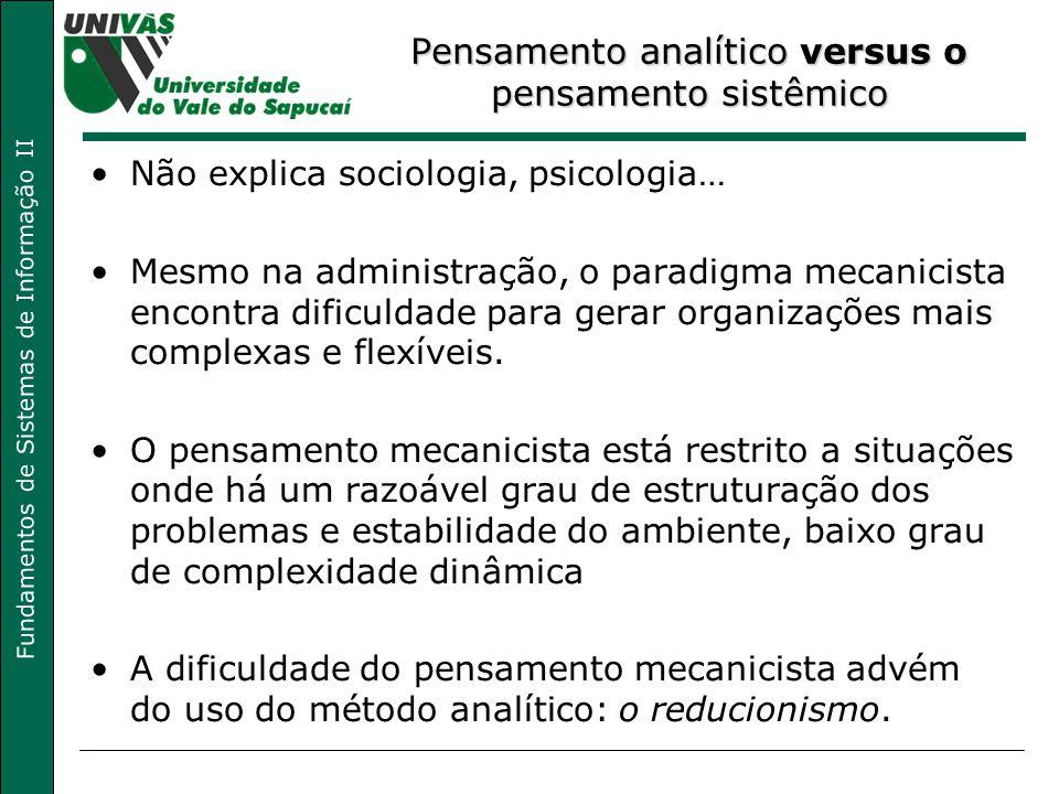 Fundamentos de Sistemas de Informação II Não explica sociologia, psicologia… Mesmo na administração, o paradigma mecanicista encontra dificuldade para