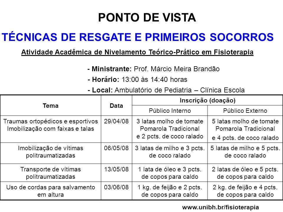 PONTO DE VISTA TÉCNICAS DE RESGATE E PRIMEIROS SOCORROS Atividade Acadêmica de Nivelamento Teórico-Prático em Fisioterapia - Ministrante: Prof. Márcio