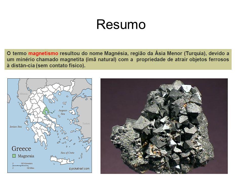 Resumo O termo magnetismo resultou do nome Magnésia, região da Ásia Menor (Turquia), devido a um minério chamado magnetita (ímã natural) com a proprie