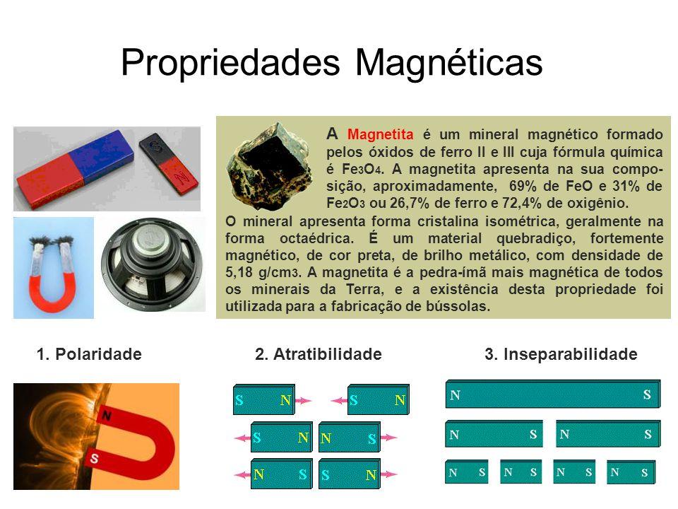 Propriedades Magnéticas O mineral apresenta forma cristalina isométrica, geralmente na forma octaédrica. É um material quebradiço, fortemente magnétic