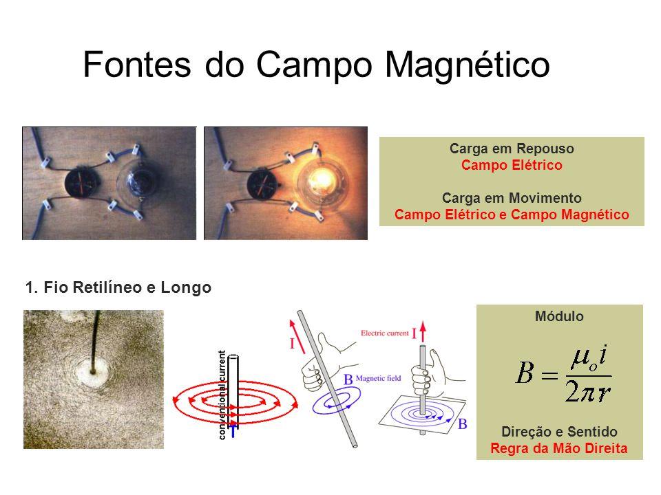 Fontes do Campo Magnético Carga em Repouso Campo Elétrico Carga em Movimento Campo Elétrico e Campo Magnético 1. Fio Retilíneo e Longo Módulo Direção
