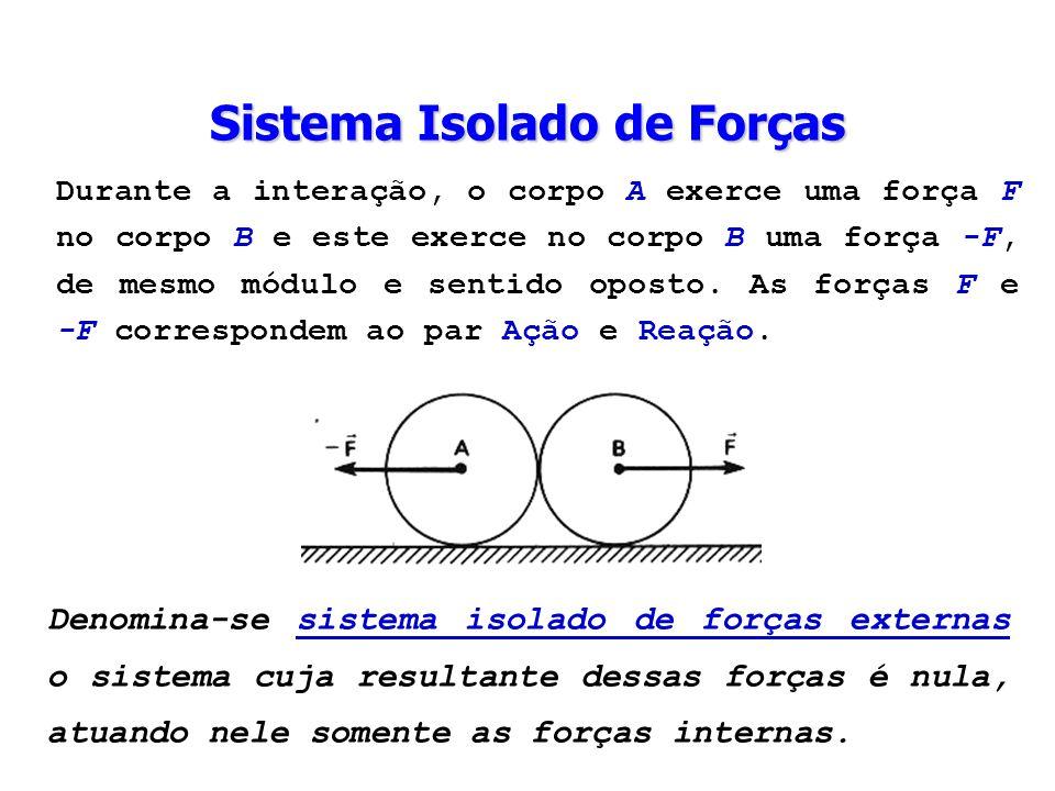 Durante a interação, o corpo A exerce uma força F no corpo B e este exerce no corpo B uma força -F, de mesmo módulo e sentido oposto. As forças F e -F