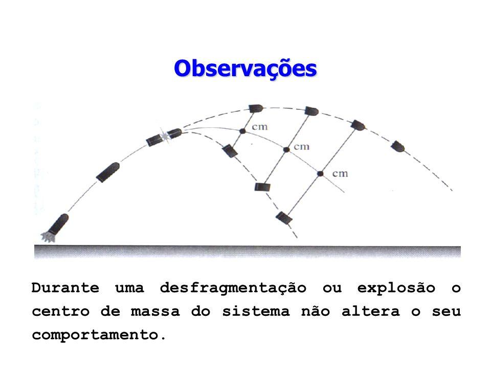 Durante uma desfragmentação ou explosão o centro de massa do sistema não altera o seu comportamento. Observações