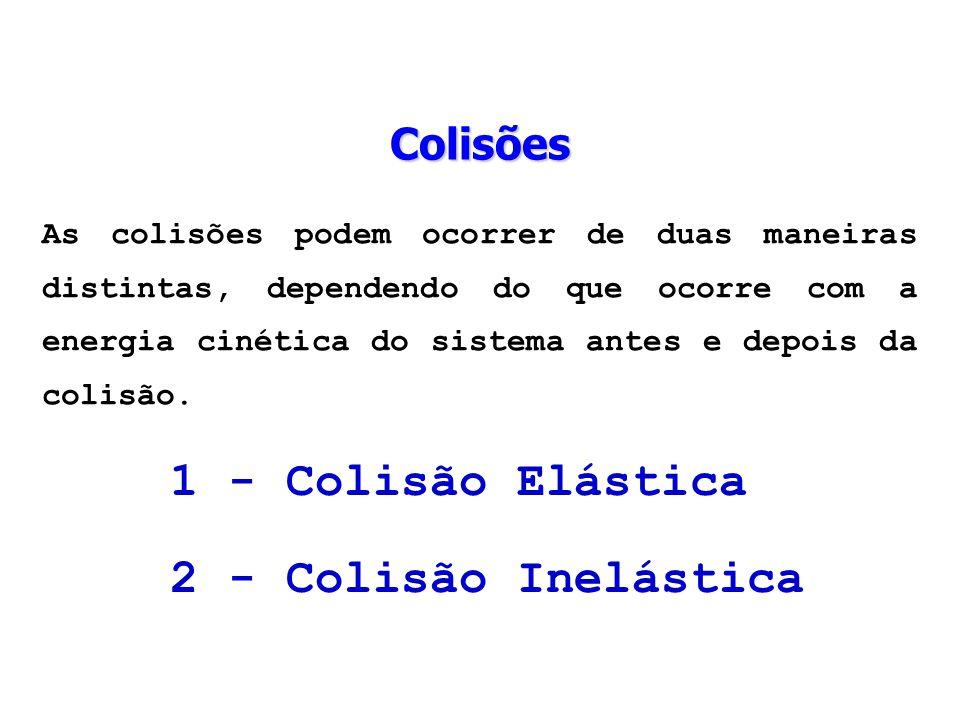 As colisões podem ocorrer de duas maneiras distintas, dependendo do que ocorre com a energia cinética do sistema antes e depois da colisão. 1 - Colisã