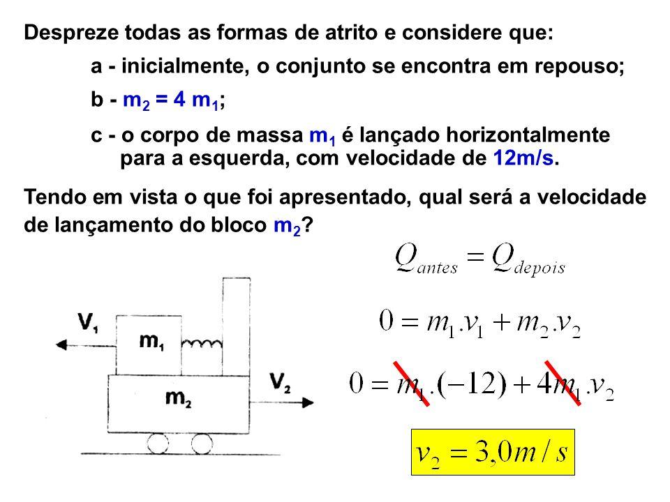 Despreze todas as formas de atrito e considere que: a - inicialmente, o conjunto se encontra em repouso; b - m 2 = 4 m 1 ; c - o corpo de massa m 1 é