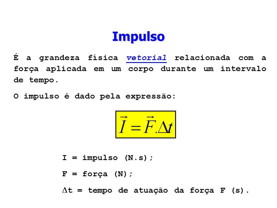 Impulso É a grandeza física vetorial relacionada com a força aplicada em um corpo durante um intervalo de tempo. O impulso é dado pela expressão: I =