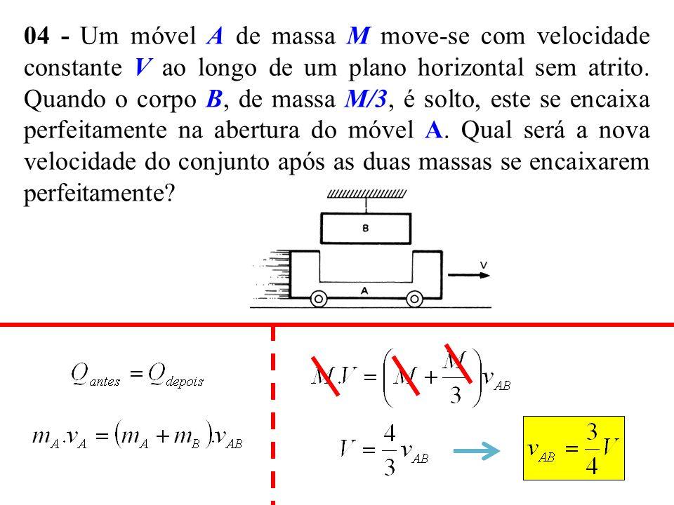 04 - Um móvel A de massa M move-se com velocidade constante V ao longo de um plano horizontal sem atrito. Quando o corpo B, de massa M/3, é solto, est