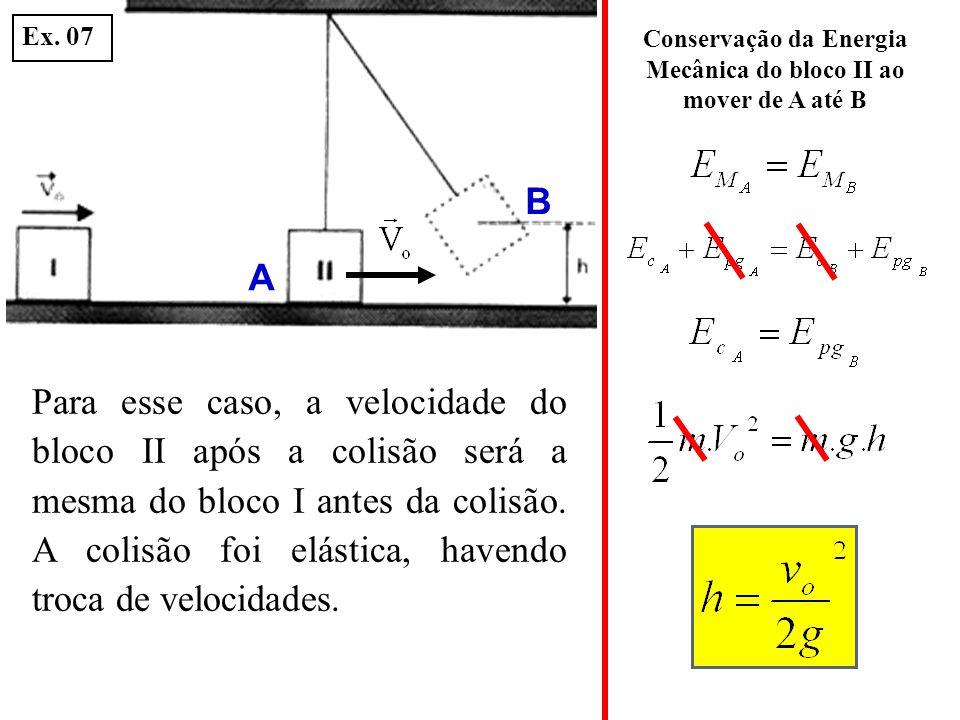 Conservação da Energia Mecânica do bloco II ao mover de A até B Para esse caso, a velocidade do bloco II após a colisão será a mesma do bloco I antes