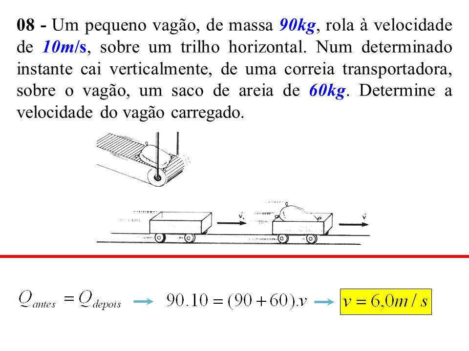 08 - Um pequeno vagão, de massa 90kg, rola à velocidade de 10m/s, sobre um trilho horizontal. Num determinado instante cai verticalmente, de uma corre