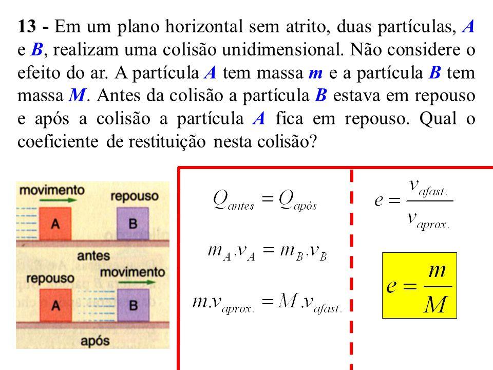 13 - Em um plano horizontal sem atrito, duas partículas, A e B, realizam uma colisão unidimensional. Não considere o efeito do ar. A partícula A tem m