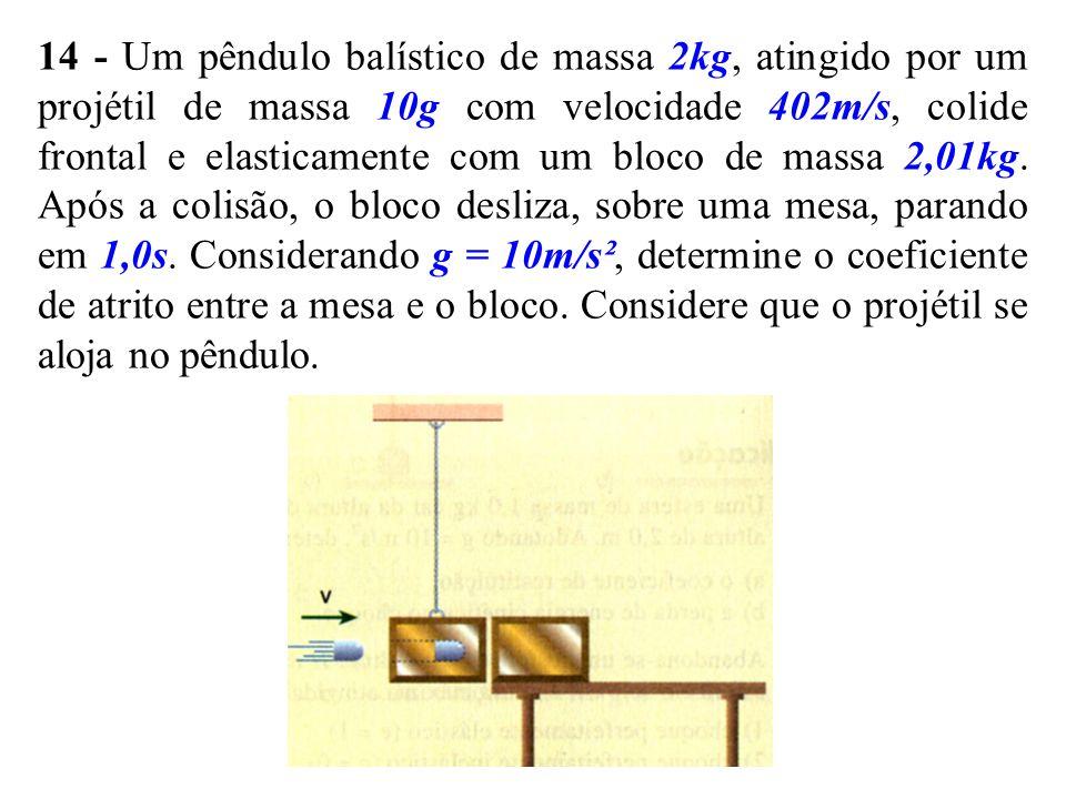 14 - Um pêndulo balístico de massa 2kg, atingido por um projétil de massa 10g com velocidade 402m/s, colide frontal e elasticamente com um bloco de ma