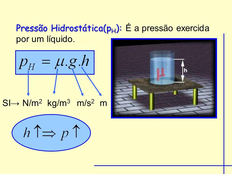 Pressão Hidrostática(p H ): Pressão Hidrostática(p H ): É a pressão exercida por um líquido.