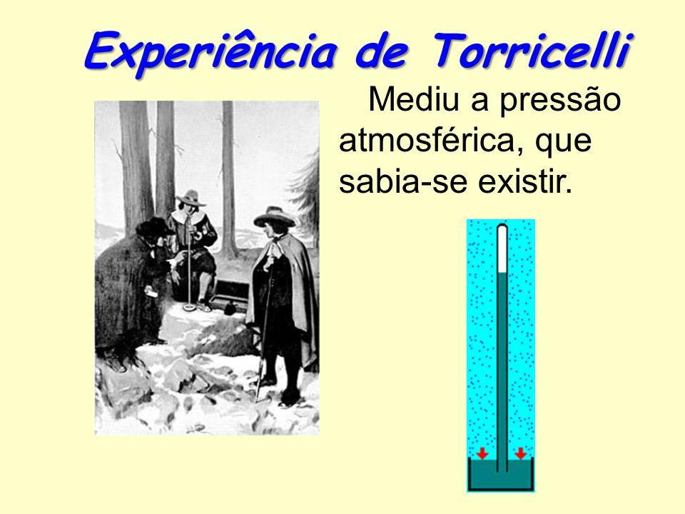 Experiência de Torricelli Mediu a pressão atmosférica, que sabia-se existir.