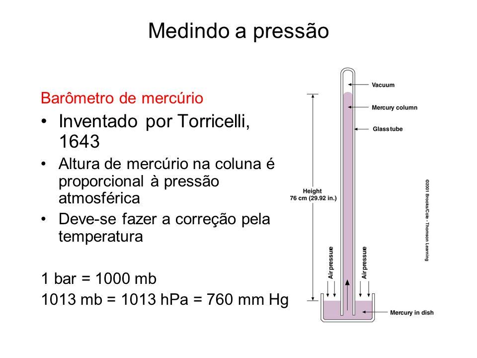 Medindo a pressão Barômetro de mercúrio Inventado por Torricelli, 1643 Altura de mercúrio na coluna é proporcional à pressão atmosférica Deve-se fazer a correção pela temperatura 1 bar = 1000 mb 1013 mb = 1013 hPa = 760 mm Hg